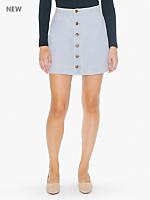 Button Front Denim A-Line Skirt