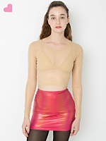 Shiny Mesh Long Sleeve Crop Top