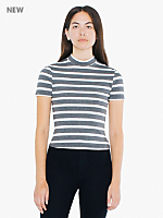 Striped Ponte Mock Neck Short Sleeve Top