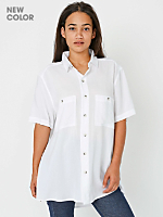 Unisex Rayon Challis Short Sleeve Button Up Shirt