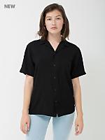 Unisex Camp Collar Button Down Short Sleeve Shirt
