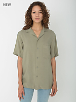 Unisex Camp Collar Button Down Short Sleeve Shirt