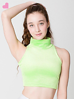 Glitter Stretch Velvet Turtleneck Crop Top