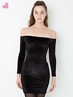 Stardust Velvet Long Sleeve Off-Shoulder Dress