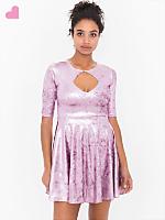Shiny Velvet Keyhole Dress