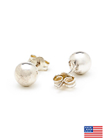 Silver Plated Earring Pair - 6MM Ball Stud