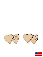 Gold Plated Earring Pair - Double Heart
