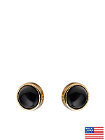 Black Onyx Post Gold Plated Earrings