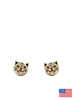 Gold Plated Earring Pair - Cat