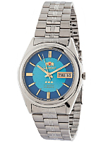 Orient Silver & Blue Analog Watch