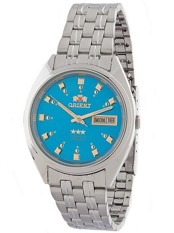 Orient Silver & Sky Blue Analog Watch