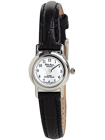 Philip Persio Black Leather Ladies Analog Watch