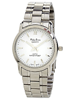 Philip Persio Silver & White Analog Watch