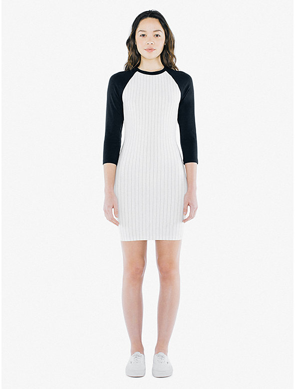 Ponte 3/4 Sleeve Raglan Dress