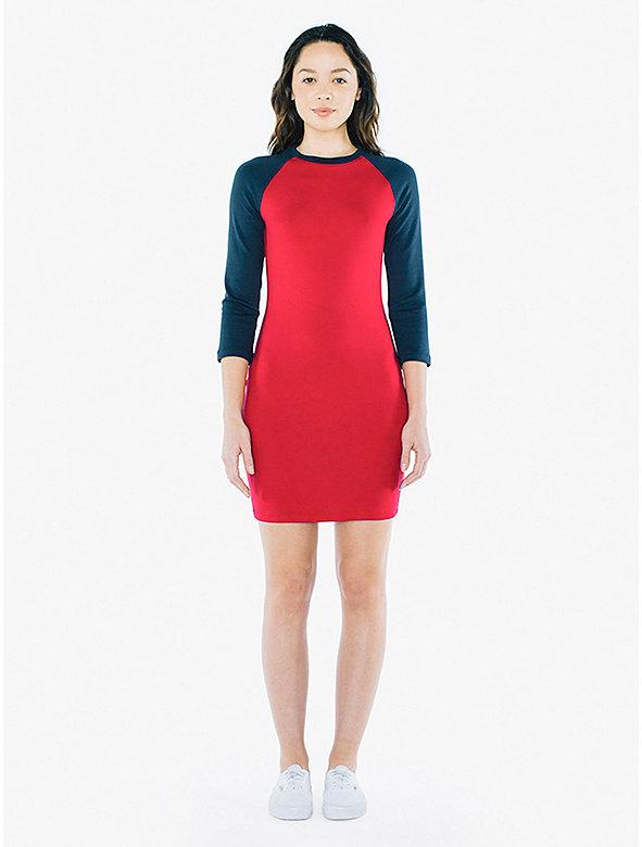 Ponte 3/4 Sleeve Raglan Dress