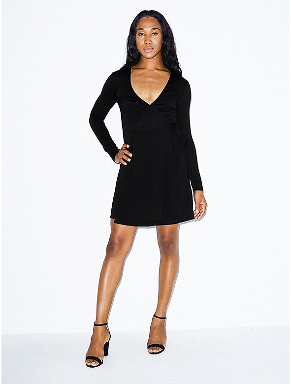Ponte Long Sleeve Wrap Dress
