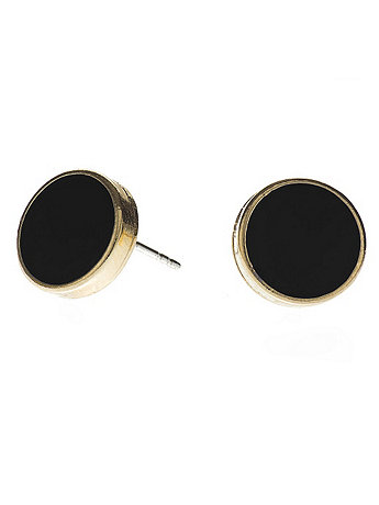 Black Large Round Post Earrings