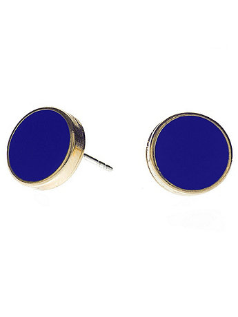 Navy Large Round Post Earrings