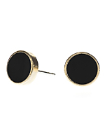 Black Medium Round Post Earrings