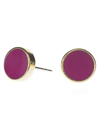 Fuchsia Medium Round Post Earrings