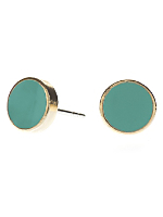 Mint Medium Round Post Earrings