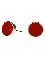 Red Medium Round Post Earrings