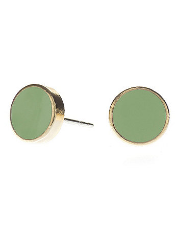 Spring Green Medium Round Post Earrings