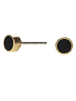 Black Small Round Post Earrings