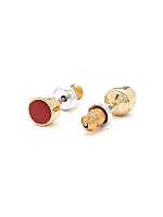 Red Small Round Post Earrings