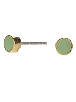 Spring Green Small Round Post Earrings