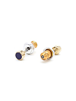 Navy Extra Small Round Post Earrings