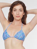 Rhymer Print Nylon Tricot Triangle Bikini Top
