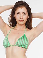 Stripe Print Nylon Tricot Triangle Bikini Top