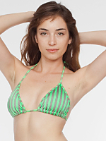 Stripe Print Nylon Tricot Triangle Bikini Top