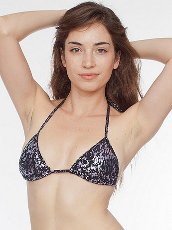 Splatter Print Nylon Tricot Triangle Bikini Top
