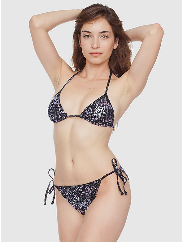 Print Nylon Tricot Side-Tie Bikini Bottom