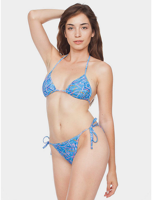 Rhymer Print Nylon Tricot Side-Tie Bikini Bottom