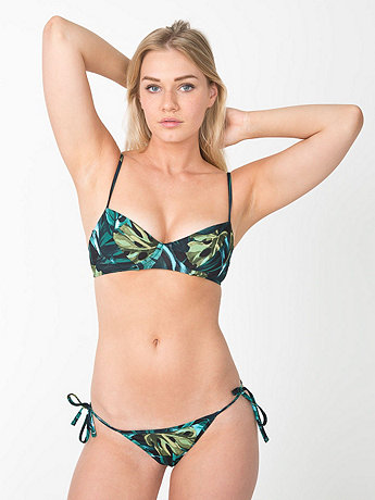 Jungle Leaves Print Nylon Tricot Side-Tie Bikini Bottom