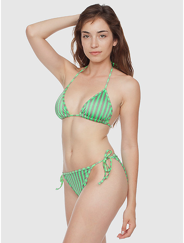 Stripe Print Nylon Tricot Side-Tie Bikini Bottom