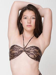 Lace Print Nylon Tricot Bandeau Bikini Top