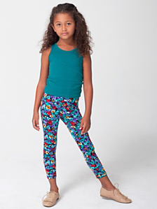 Kids' Floral Print Nylon Tricot Legging