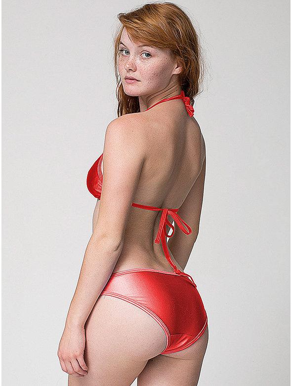 Nylon Tricot Swim Flat Low-Waist Bikini Bottom