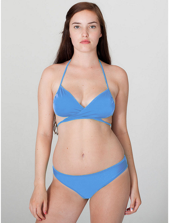 Nylon Tricot Swim Flat Low-Waist Bikini Bottom