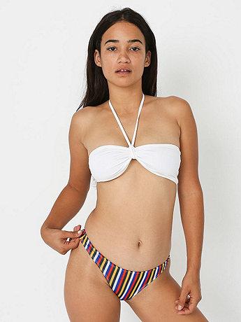 Stripe Print Nylon Tricot Swim Flat Bikini Bottom