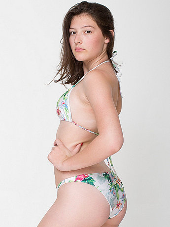 Flamingo Print Nylon Tricot Swim Flat Bikini Bottom