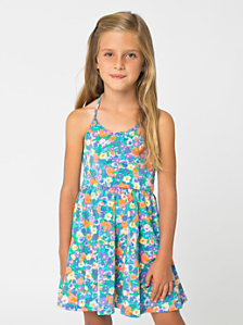 Printed Kids' Nylon Tricot Skater Dress