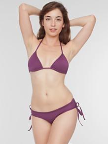 Nylon Tricot Ruched-Side Bikini Bottom