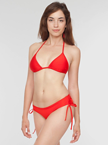 Nylon Tricot Ruched-Side Bikini Bottom