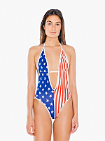 US Flag Print Maillot-V Swimsuit
