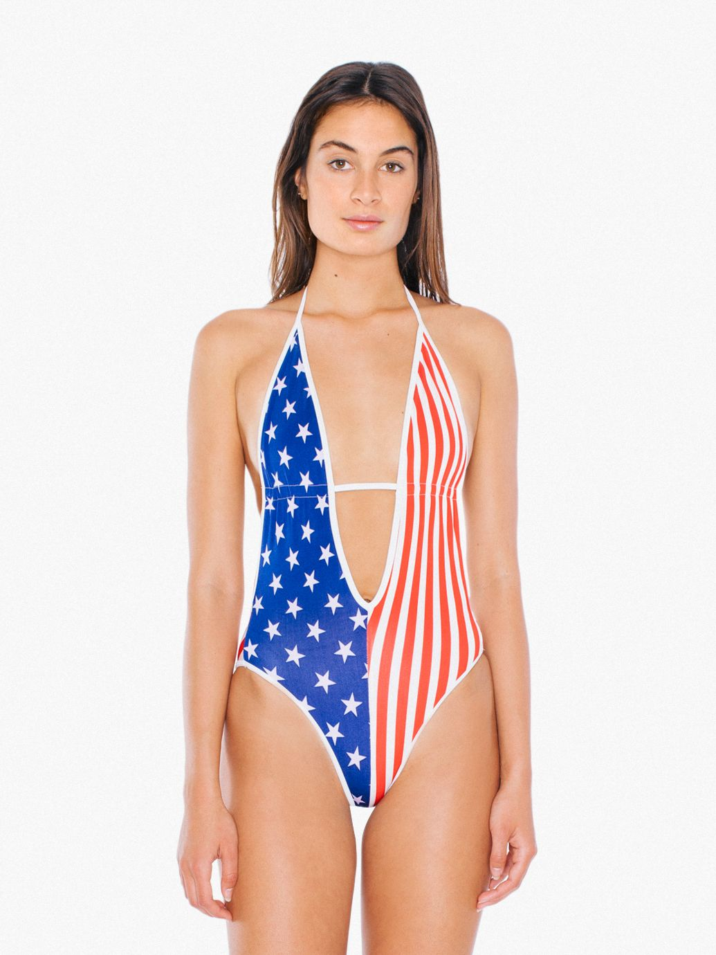 US Flag Plunge One-Piece Swimsuit